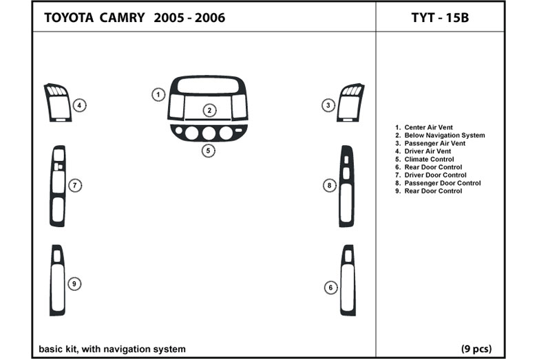 2006 Toyota Camry DL Auto Dash Kit Diagram