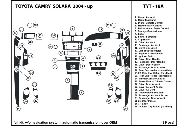 2004 Toyota Solara DL Auto Dash Kit Diagram