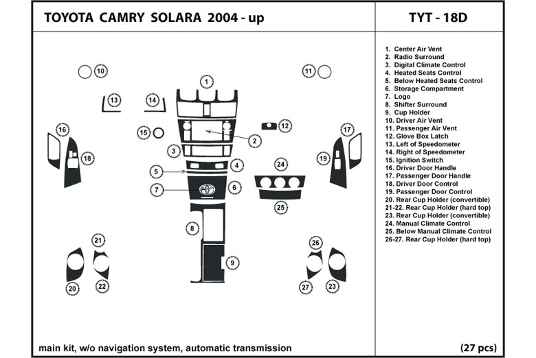 2005 Toyota Solara DL Auto Dash Kit Diagram