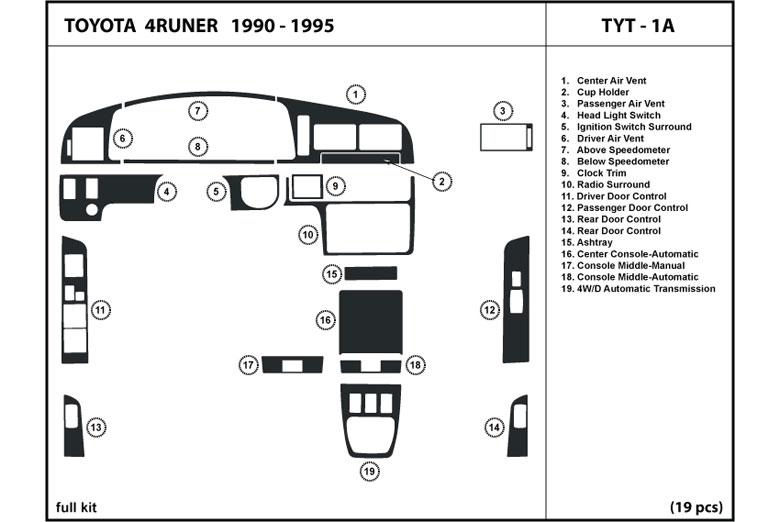 1990-1995 ONLY Toyota 4Runner Ignition Cover Trim bezel /'90 /'91 /'92 /'93 /'94 /'95