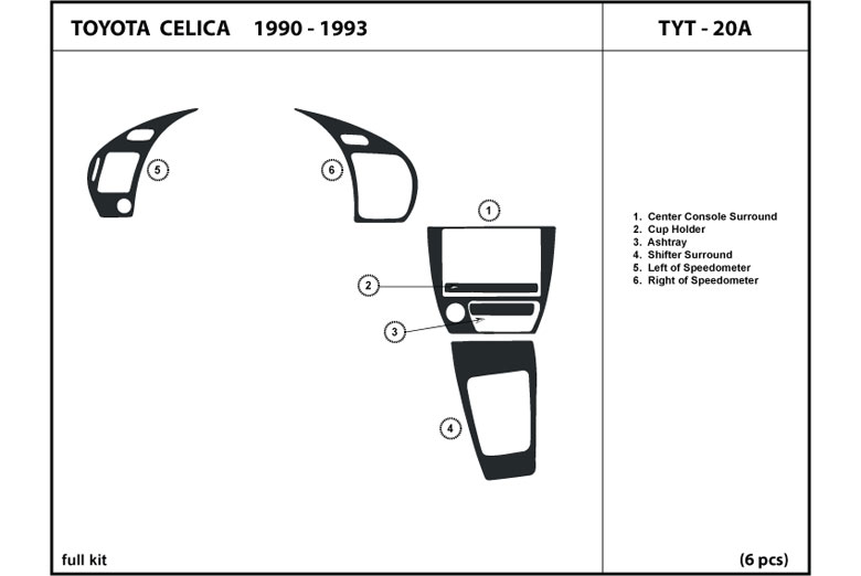 1992 Toyota Celica DL Auto Dash Kit Diagram