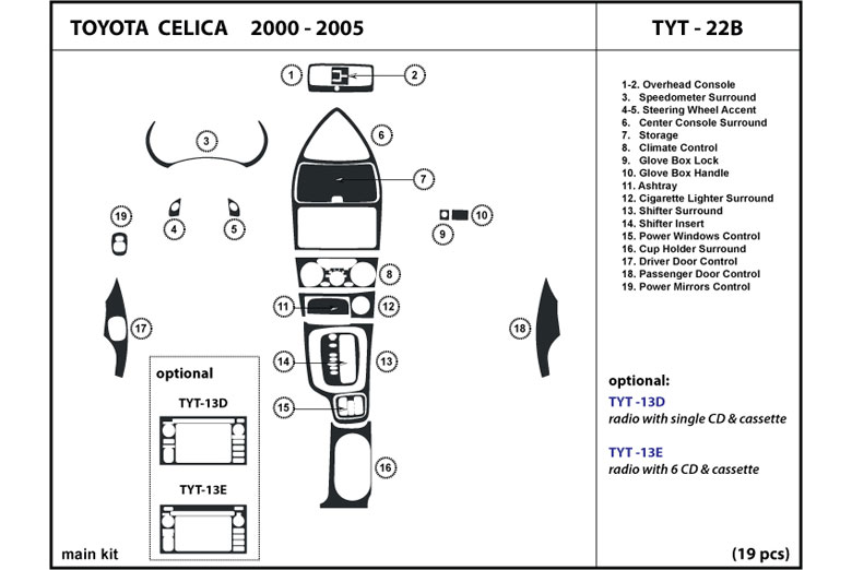 2002 Toyota Celica DL Auto Dash Kit Diagram