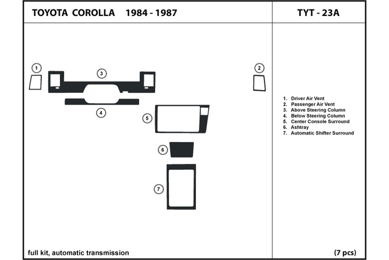 1987 Toyota Corolla DL Auto Dash Kit Diagram