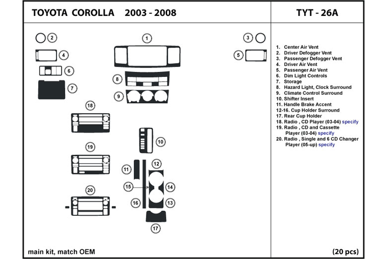 2006 Toyota Corolla DL Auto Dash Kit Diagram