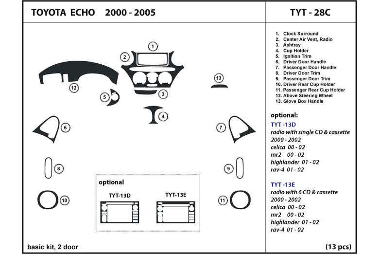 2000 Toyota Echo DL Auto Dash Kit Diagram
