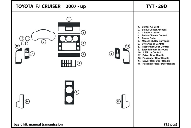 2011 Toyota FJ Cruiser DL Auto Dash Kit Diagram