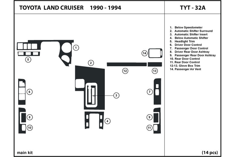 1993 Toyota Land Cruiser DL Auto Dash Kit Diagram