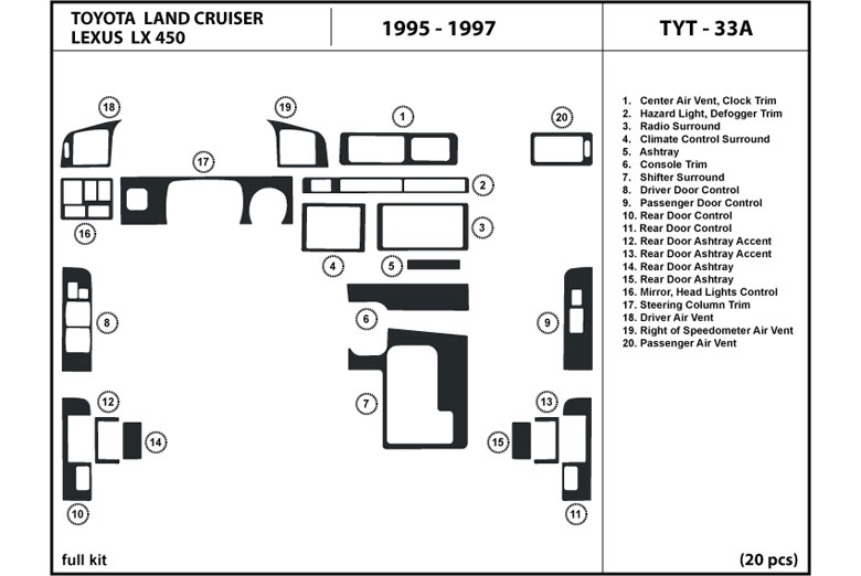 1995 Toyota Land Cruiser DL Auto Dash Kit Diagram