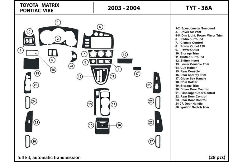 dl auto pontiac vibe 2003 2004 dash kits. Black Bedroom Furniture Sets. Home Design Ideas