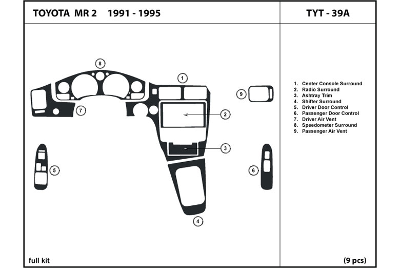 1995 Toyota MR2 DL Auto Dash Kit Diagram