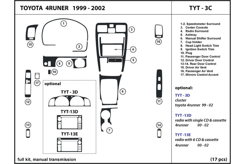 1999 Toyota 4Runner DL Auto Dash Kit Diagram