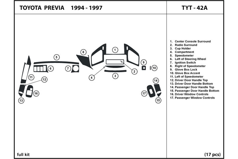 dl auto® toyota previa 1994 1997 dash kits1994 toyota previa dl auto dash kit diagram