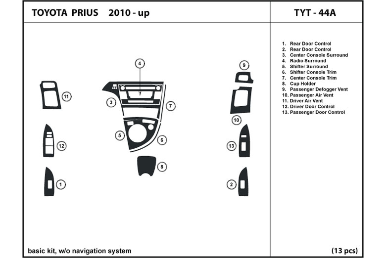 2010 Toyota Prius DL Auto Dash Kit Diagram