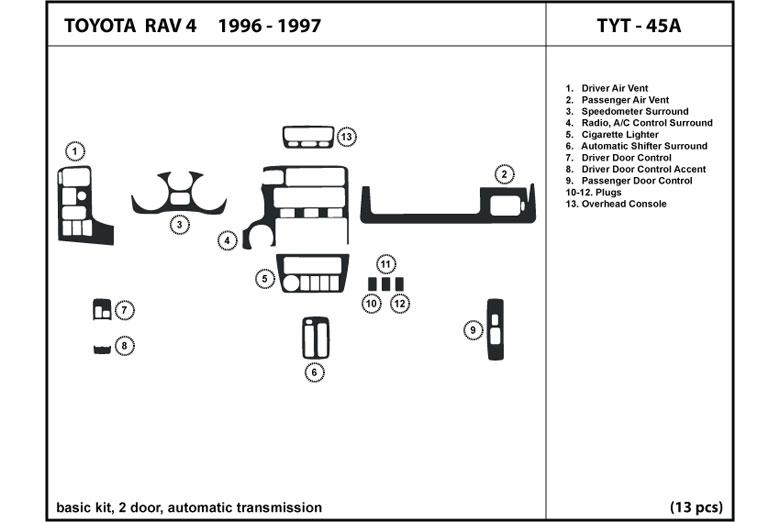 Dl Auto Toyota Rav4 19961997 Dash Kits. 1996 Toyota Rav4 Dl Auto Dash Kit Diagram. Toyota. 1997 Toyota Rav4 Manual Transmission Diagram At Scoala.co