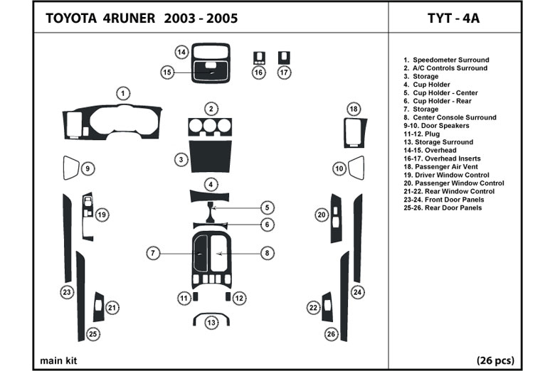 2003 Toyota 4Runner DL Auto Dash Kit Diagram