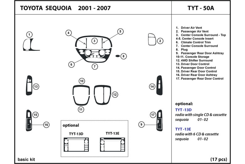 2003 Toyota Sequoia DL Auto Dash Kit Diagram