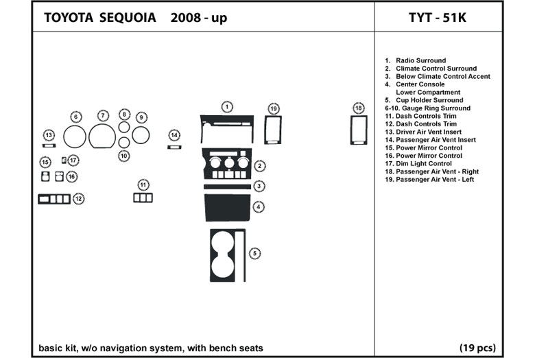 2012 Toyota Sequoia DL Auto Dash Kit Diagram