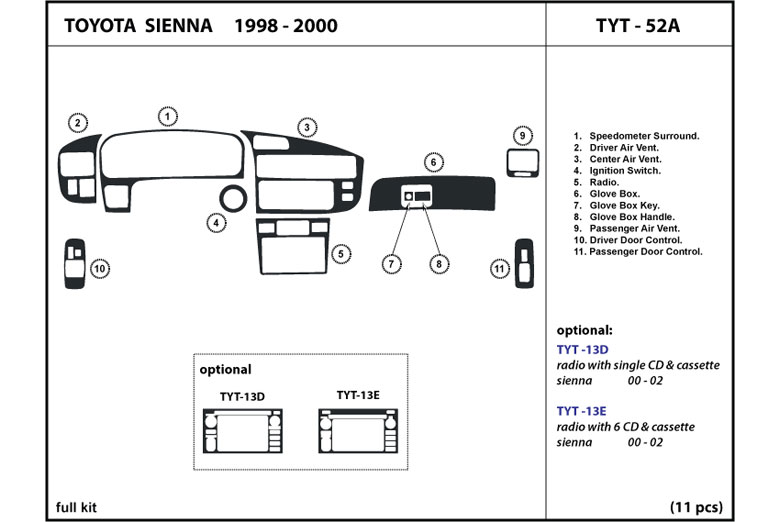 1998 Toyota Sienna DL Auto Dash Kit Diagram