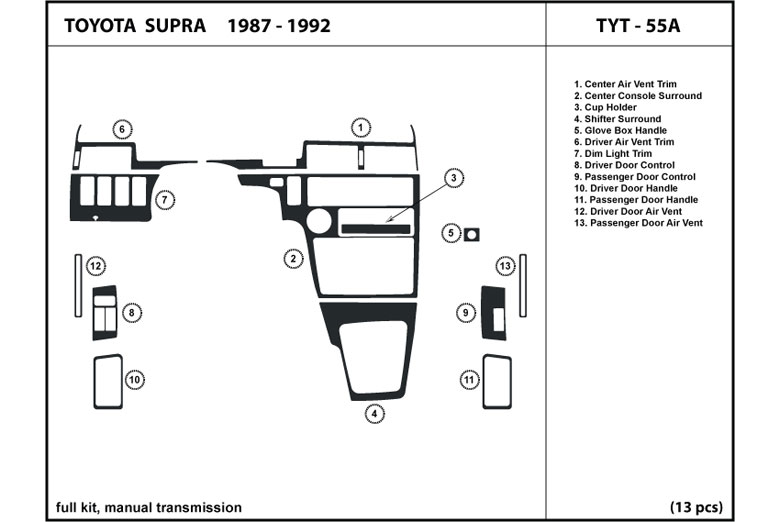 1987 Toyota Supra DL Auto Dash Kit Diagram