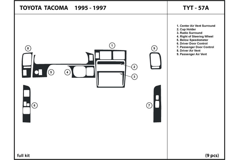 1996 Toyota Tacoma DL Auto Dash Kit Diagram