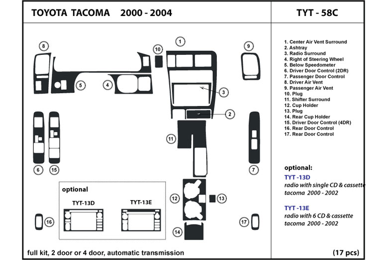 2001 Toyota Tacoma DL Auto Dash Kit Diagram