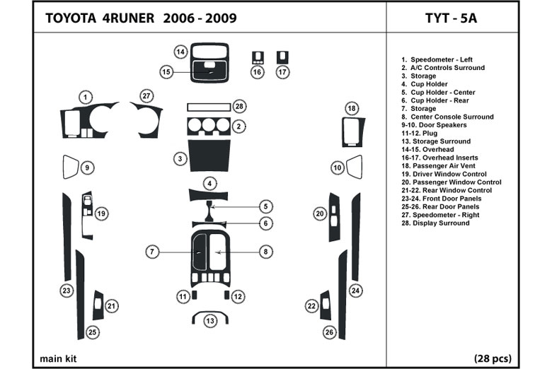 2006 Toyota 4Runner DL Auto Dash Kit Diagram