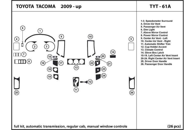 2011 Toyota Tacoma DL Auto Dash Kit Diagram