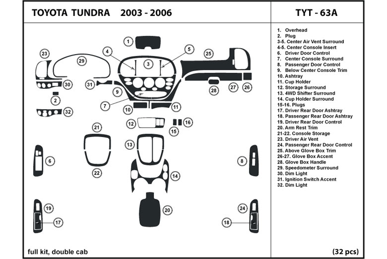 2003 Toyota Tundra DL Auto Dash Kit Diagram