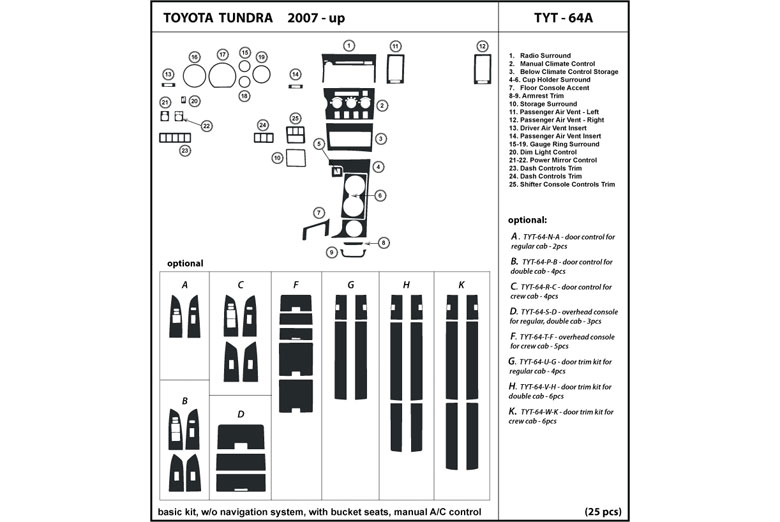 2007 Toyota Tundra DL Auto Dash Kit Diagram