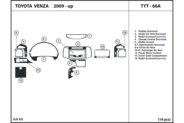 2009 Toyota Venza DL Auto Dash Kit Diagram