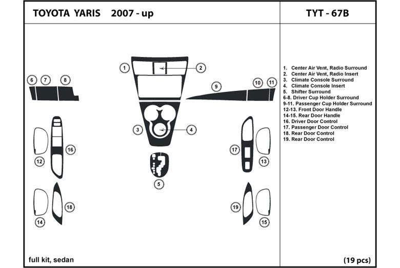 TYT 67B dl auto® toyota yaris 2007 2011 dash kits