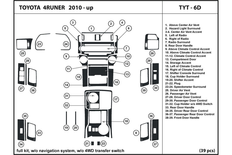 2010 Toyota 4Runner DL Auto Dash Kit Diagram