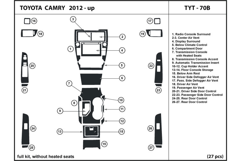 2012 Toyota Camry DL Auto Dash Kit Diagram