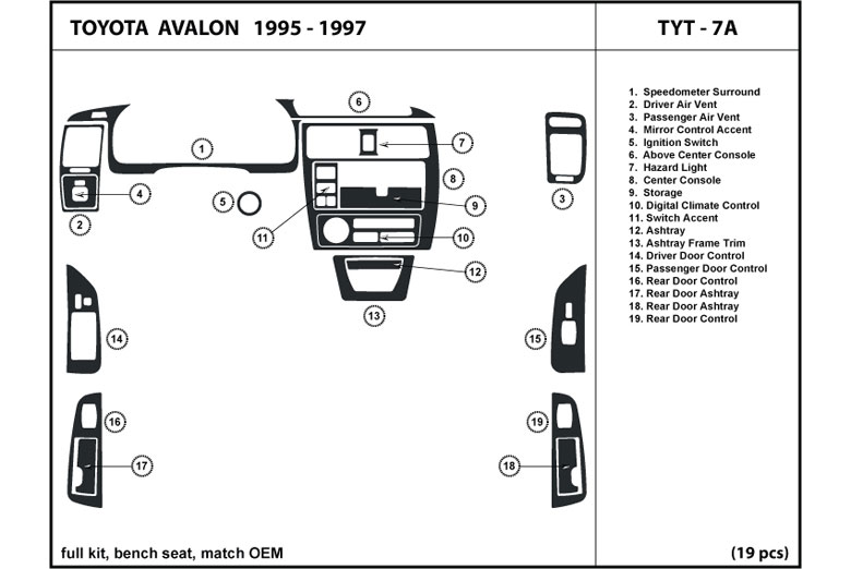 1998 Toyota Avalon Dl Auto Dash Kit Diagram