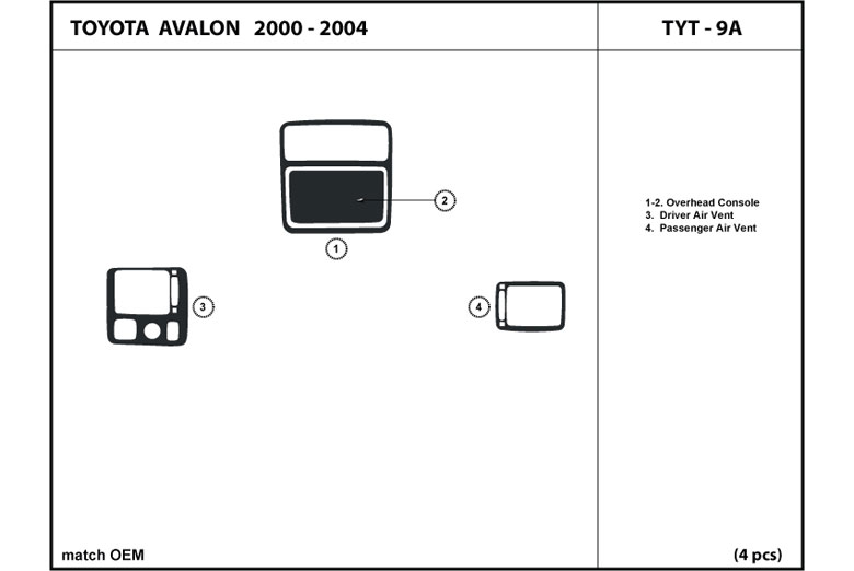 2004 Toyota Avalon DL Auto Dash Kit Diagram