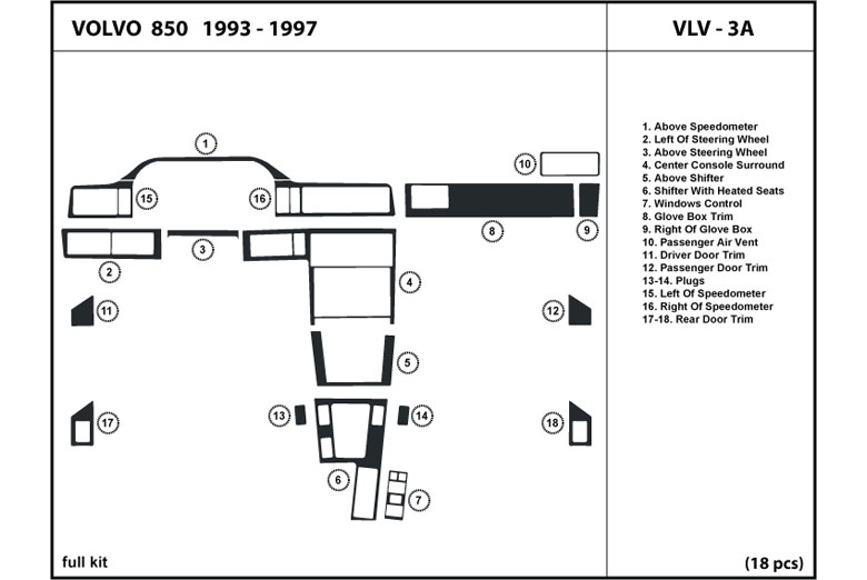Dl Auto Volvo 850 19931997 Dash Kits. 1993 Volvo 850 Dl Auto Dash Kit Diagram. Volvo. Volvo Auto Diagram At Scoala.co