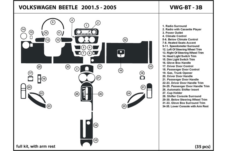 2001 Volkswagen Beetle DL Auto Dash Kit Diagram