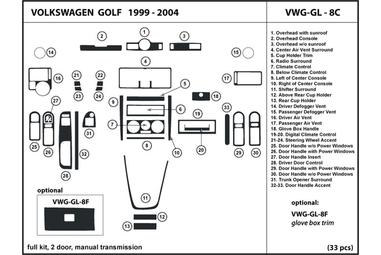2004 Volkswagen Golf DL Auto Dash Kit Diagram