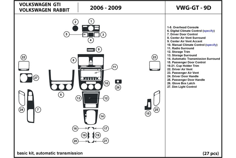 2008 Volkswagen Rabbit DL Auto Dash Kit Diagram