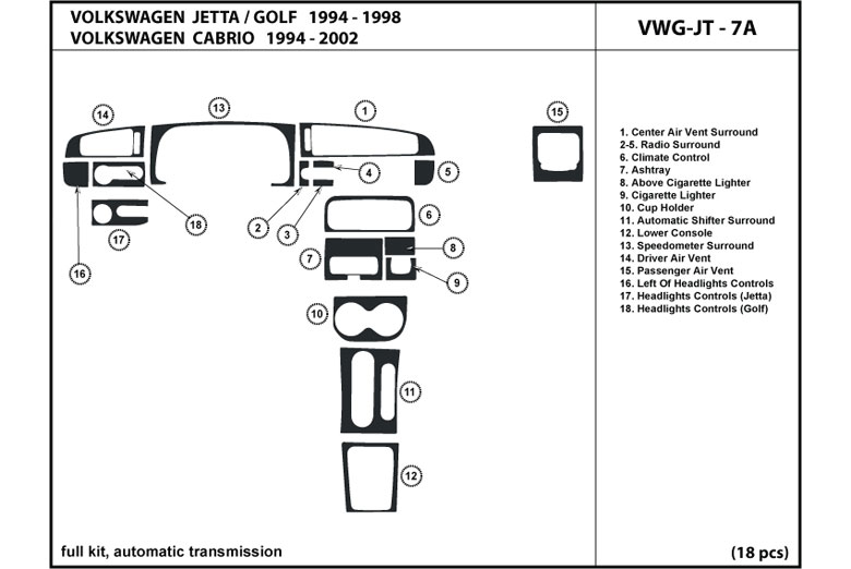 2002 Volkswagen Cabrio DL Auto Dash Kit Diagram