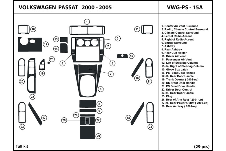 2005 Volkswagen Passat DL Auto Dash Kit Diagram