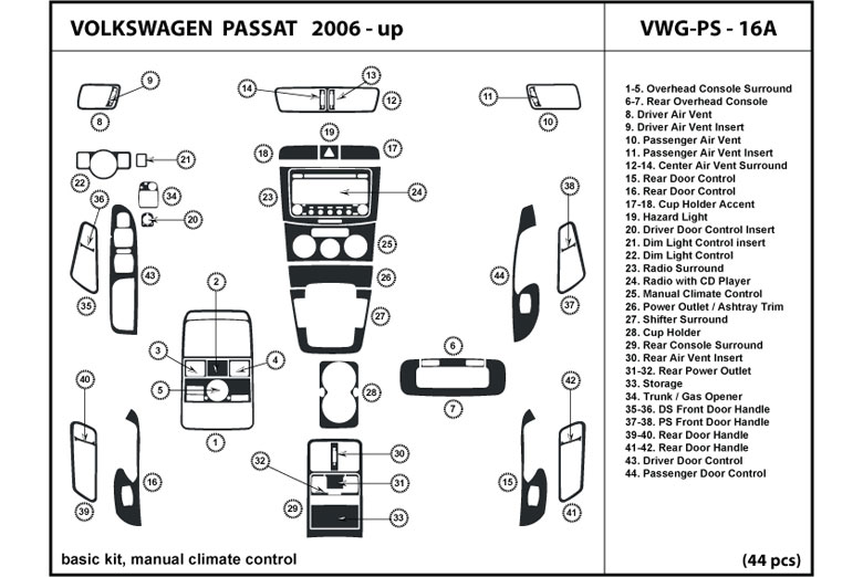 2007 Volkswagen Passat DL Auto Dash Kit Diagram