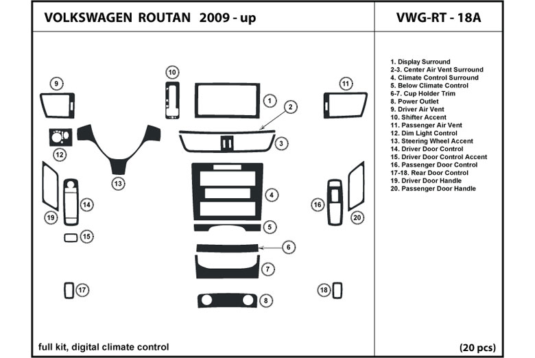 2010 Volkswagen Routan DL Auto Dash Kit Diagram