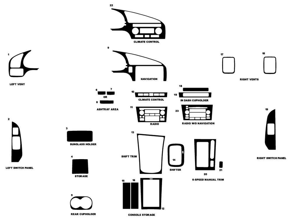 Acura CL 2001-2003 Dash Kit Diagram