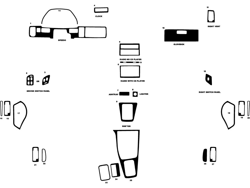 Acura Integra 1989-1993 Dash Kit Diagram