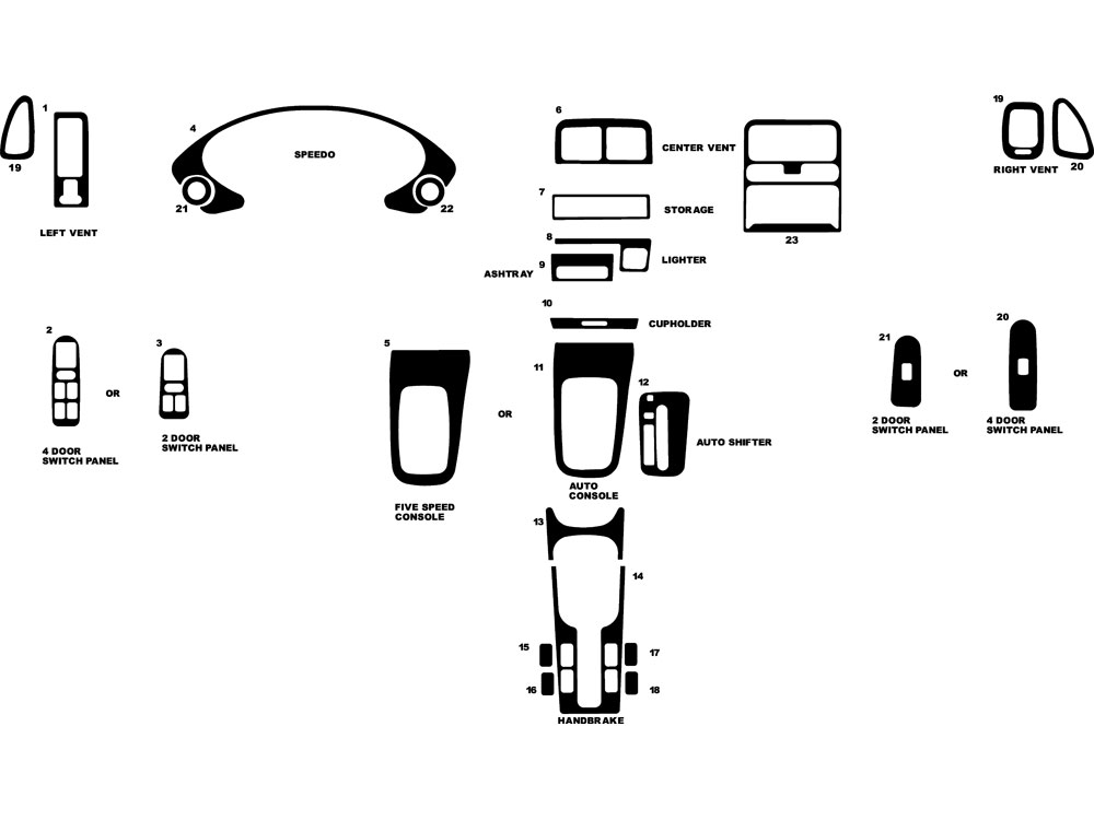 Acura Integra 1994-2001 Dash Kit Diagram