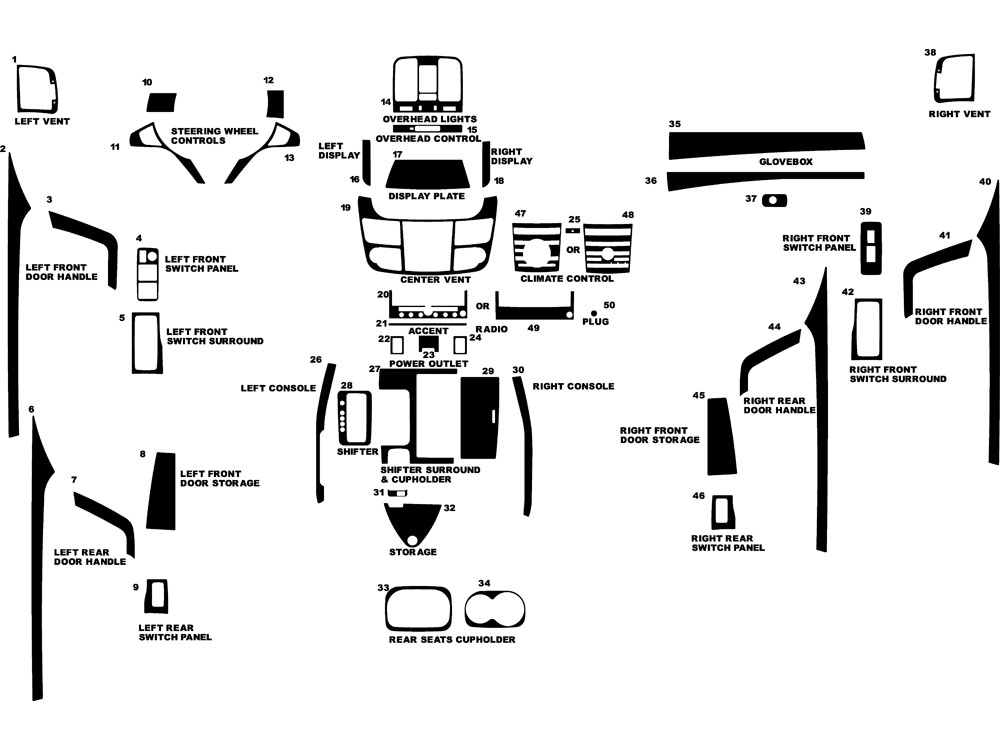 Acura RDX 2007-2012 Dash Kit Diagram
