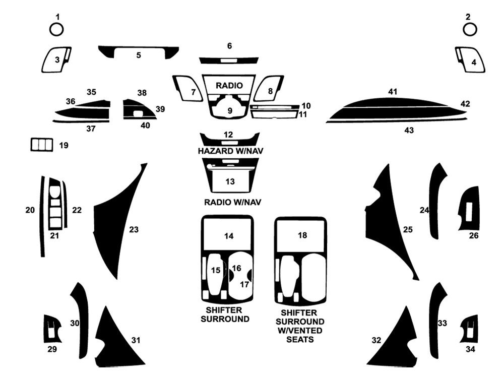 Acura RDX 2016-2018 Dash Kit Diagram