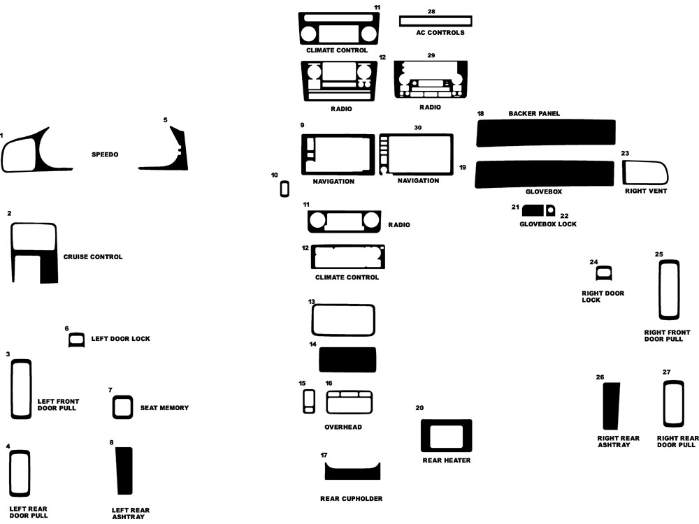 Acura RL 1999-2004 Dash Kit Diagram