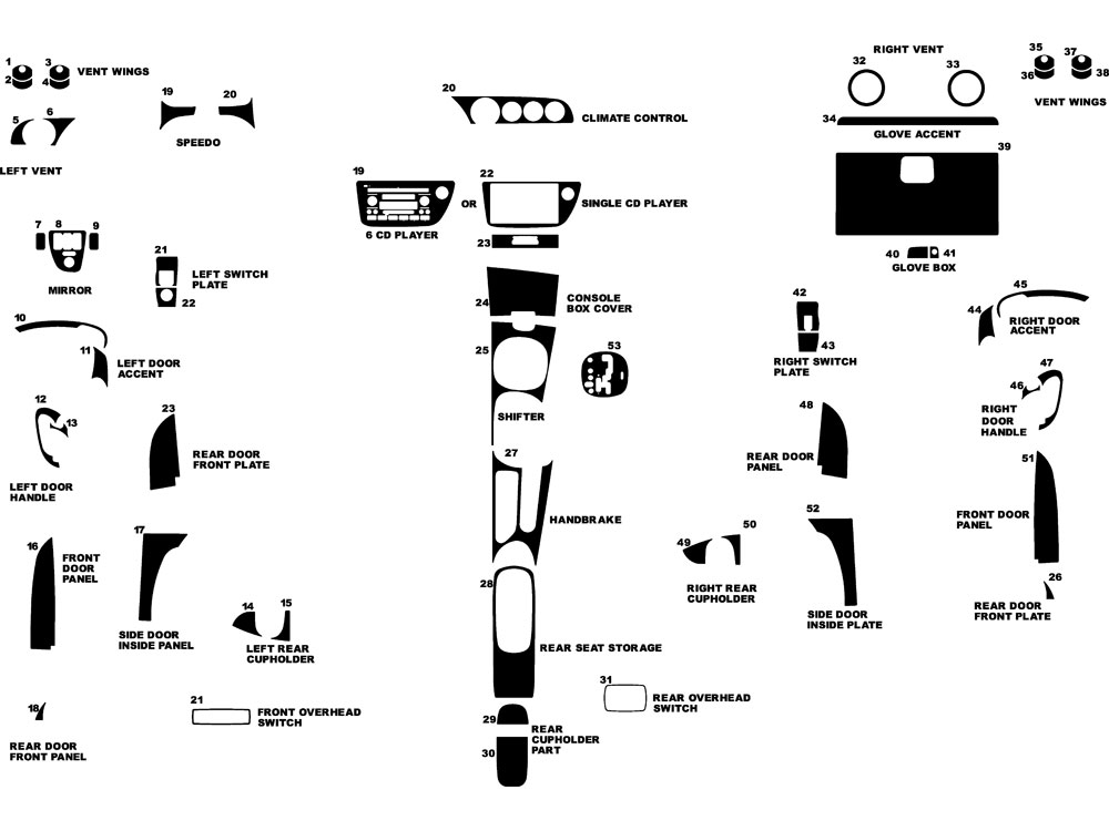 Acura RSX 2002-2006 Dash Kit Diagram